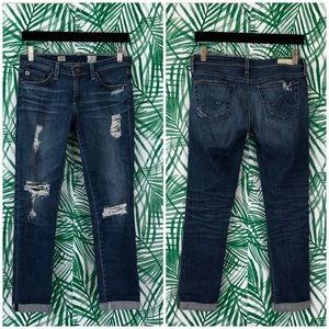 AG Cigarette Distressed Slit Roll Up Skinny Jeans